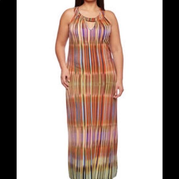 Plus Size Striped Maxi Dress with Metallic Chain NWT